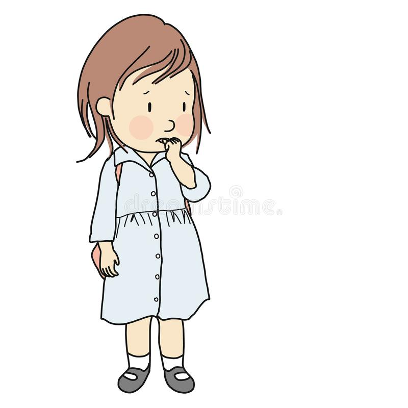 Vector illustration of little kid biting her nail to relieve anxiety, loneliness, stress. Early childhood development stock illustration