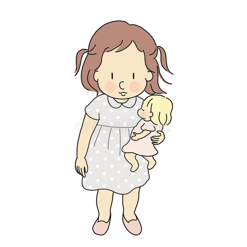 Vector illustration of little kid girl playing baby doll. Happy children day, child playing concept. Cartoon character drawing vector illustration