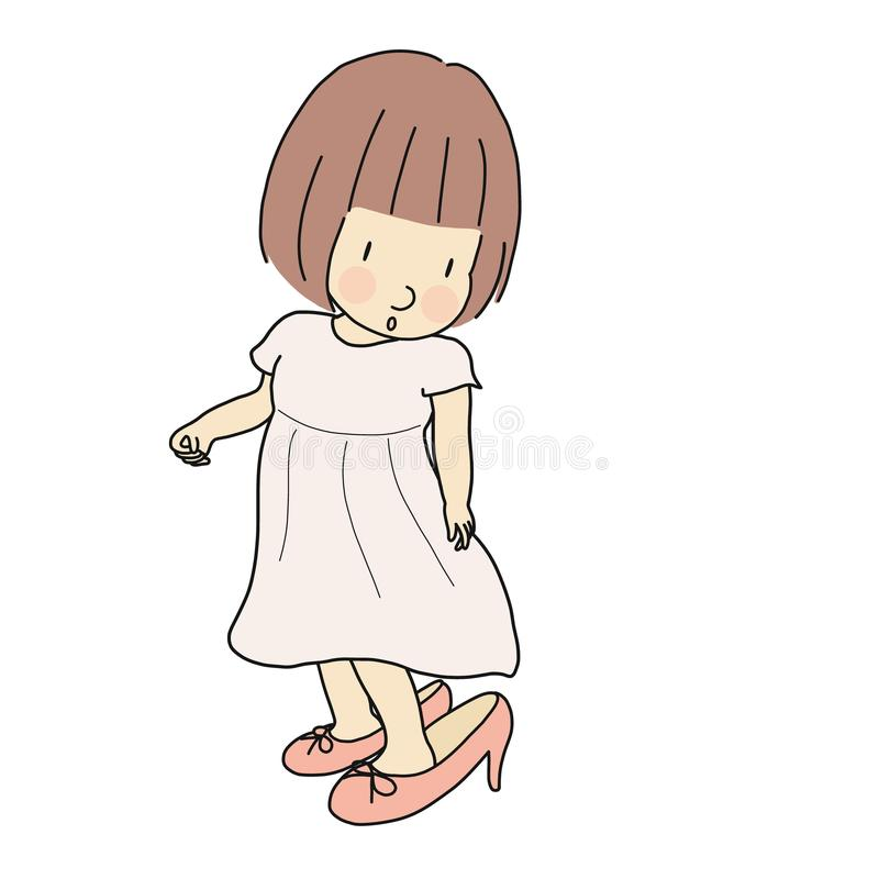 Vector illustration of little kid girl trying to put on mother`s high heel shoes. Happy children day, child playing, funny vector illustration