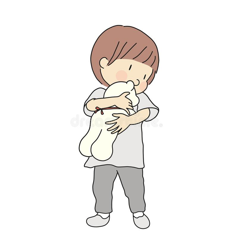 Vector illustration of little kid holding and hugging teddy bear doll. Early childhood development, child playing, happy children vector illustration