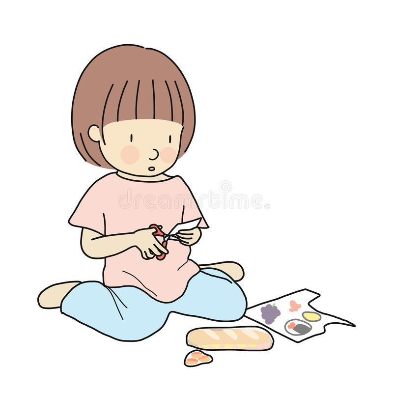Vector illustration of little kid sitting on floor and cutting paper into small pieces with scissor. Early childhood development royalty free illustration
