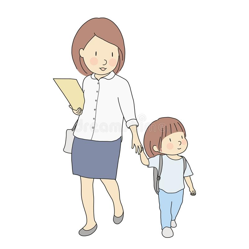 Vector illustration of little kids carrying school backpack walking to school with mother. Early childhood development, first day stock illustration