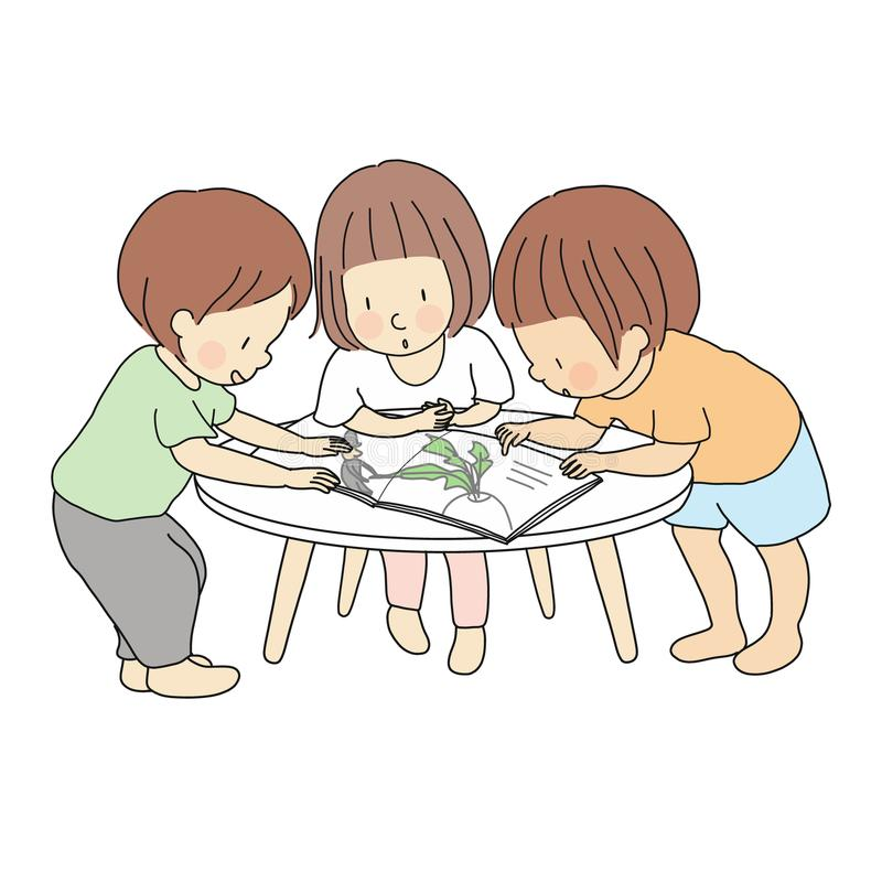 Vector illustration of little kids standing and reading story book together. Early childhood development activity, education royalty free illustration