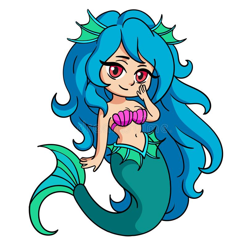 Vector illustration with little mermaid in anime or manga style. Young beautyful girl. Blue-haired girl stock illustration
