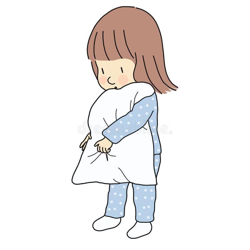 Vector illustration of little sleepy kid girl in pajamas holding pillow. Family, bedtime, early childhood development. Cartoon royalty free illustration