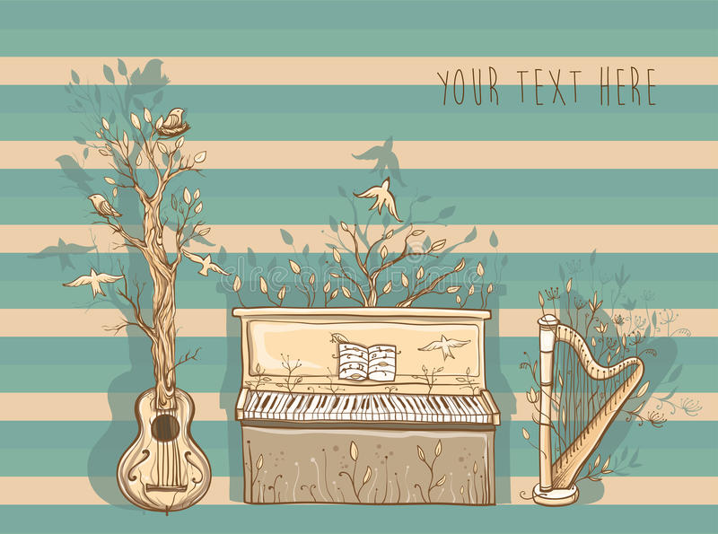 Vector illustration of live music with guitar, piano, harp. stock illustration