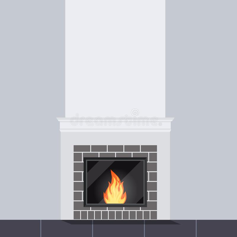 Vector illustration of living room scene with white stone fireplace close up vector illustration