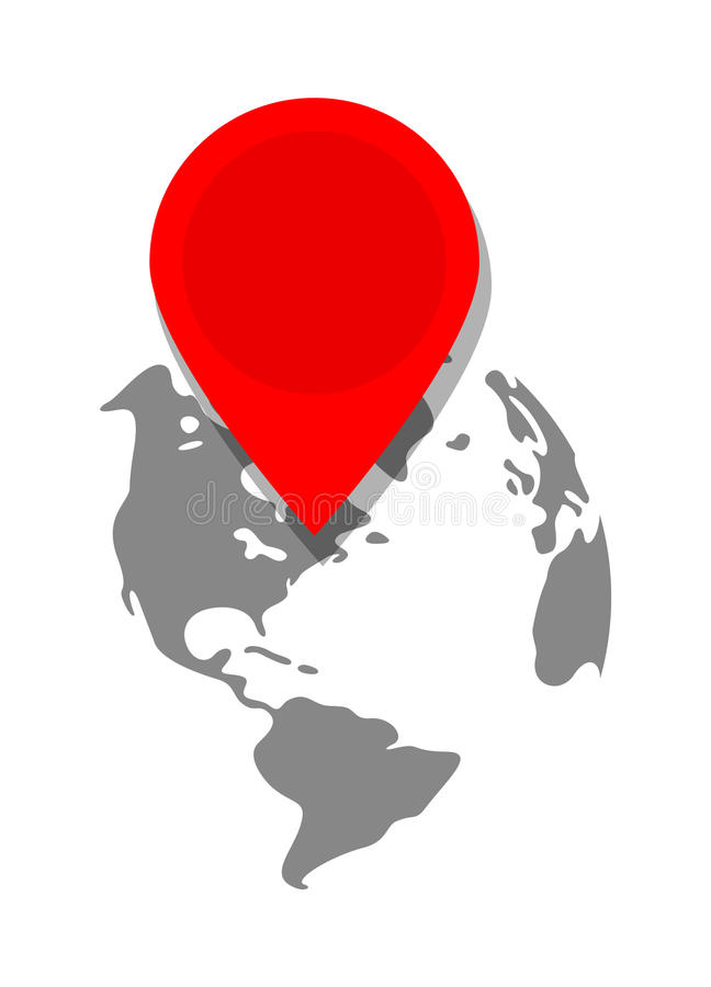 Location Pin Remarking A Destination On Globe. Vector Illustration Of A Location Pin Remarking A Destination On Globe royalty free illustration