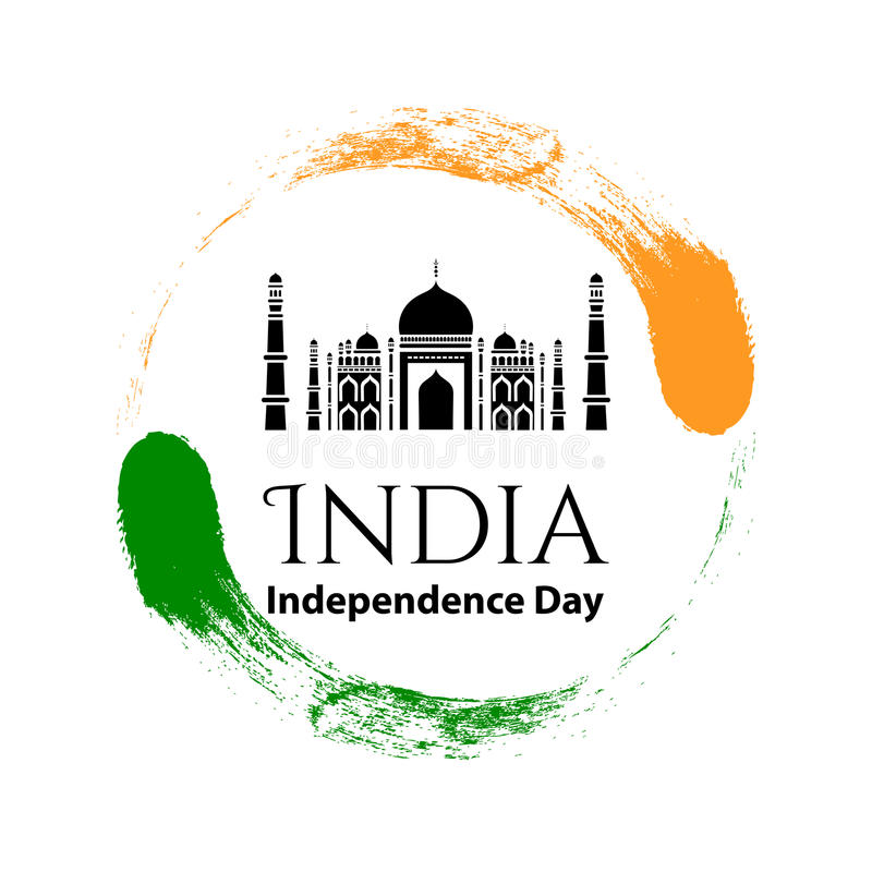 Vector illustration logo15 August Indian Independence day in vintage style. Famous Indian Mosque icon. Design template poster, ban vector illustration