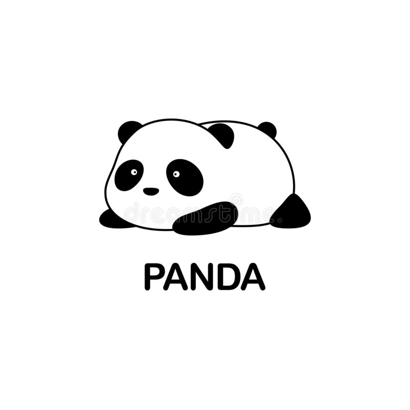 Vector Illustration / Logo Design - Cute baby funny fat cartoon giant panda bear lies on its stomach on the ground stock illustration