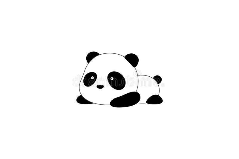 Vector Illustration / Logo Design - Cute funny cartoon giant panda bear lies on the ground vector illustration