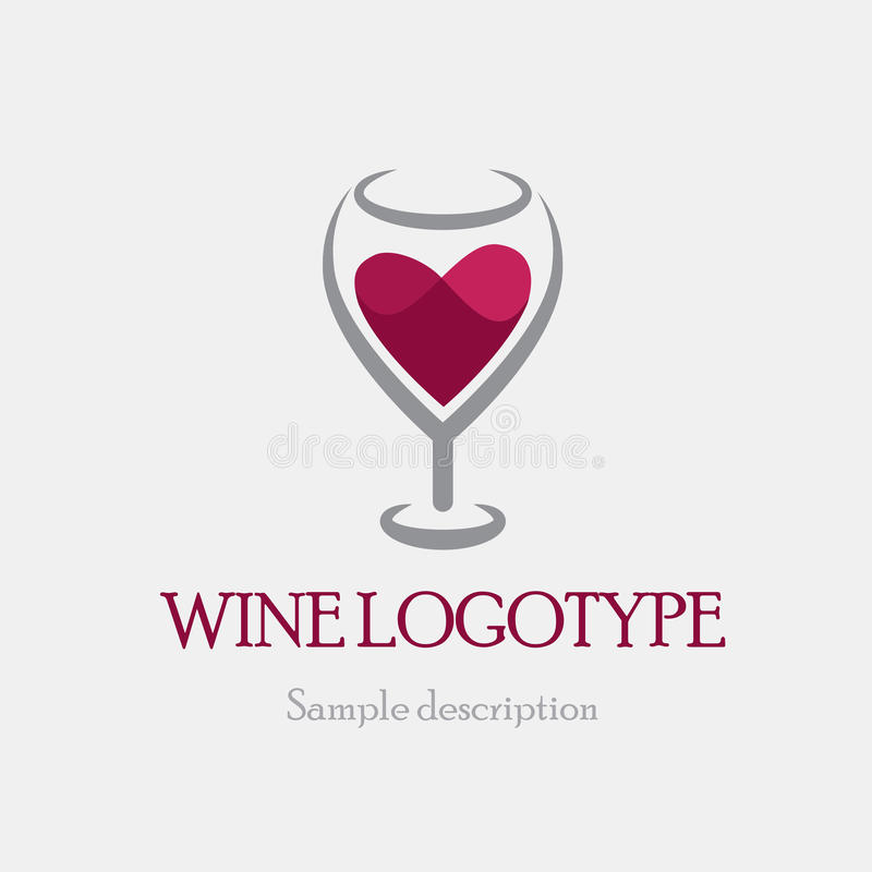 Vector illustration logo glass of red wine on a white background in the form of heart vector illustration