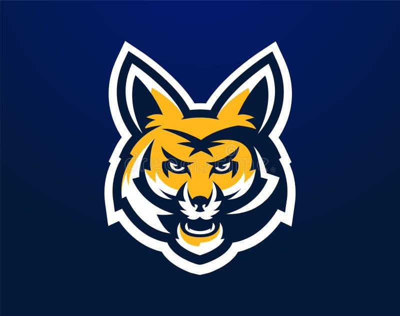 Vector illustration, logo, mascot, aggressive fox ready to attack, the forest predator, grin. Identity for the sports vector illustration