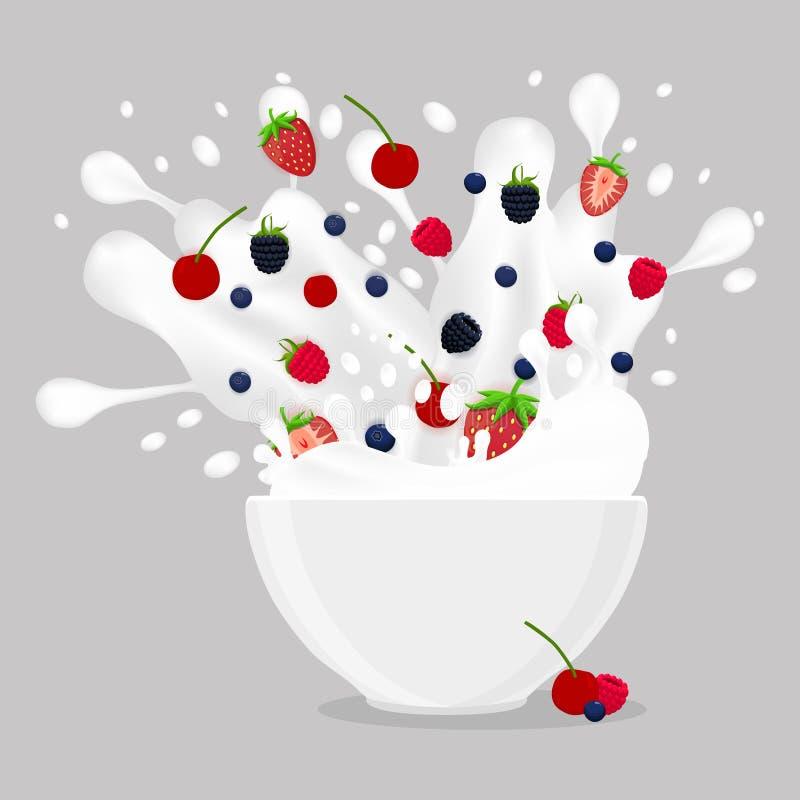 Vector illustration logo for milk splash berries vector illustration
