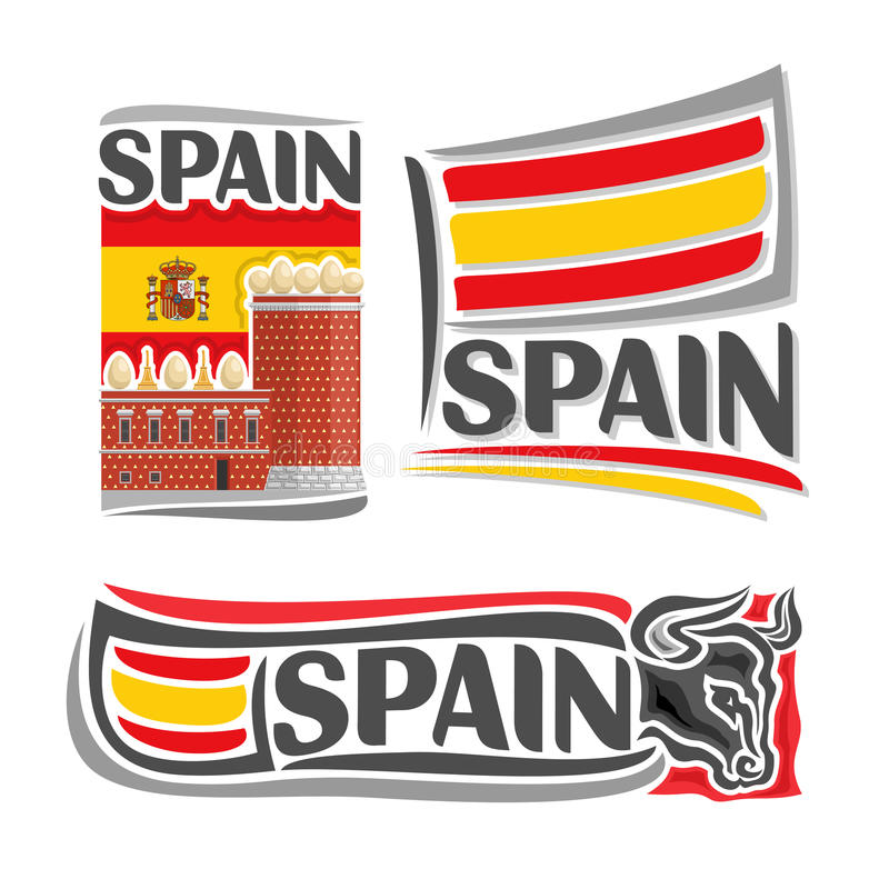 Vector illustration of the logo for Spain. Consisting of 3 isolated illustrations: flag on the background of the Salvador Dali Museum, symbol of Spain and the stock illustration