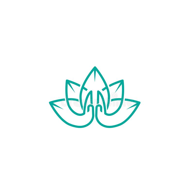 Vector illustration of Logo for a yoga studio. Lotus logo with Namaste. graphic design elements in flat style for spa or yoga cent stock illustration