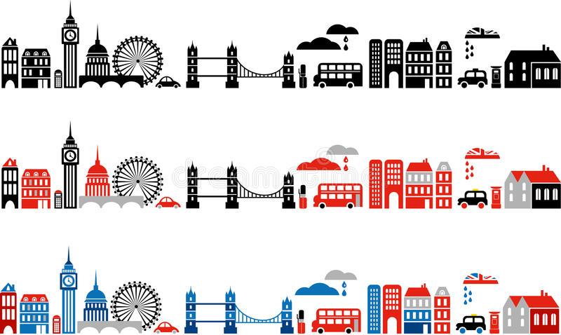 Vector illustration of London city - 2. Vector illustration of London with colorful icons of classic double deck routemaster buses, cabs and landmark buildings stock illustration