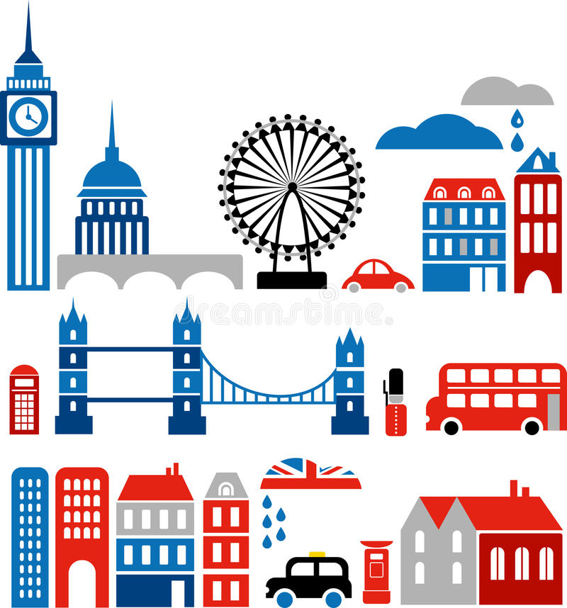 Vector illustration of London landmarks. Vector illustration of London with colorful icons of classic double deck routemaster buses, cabs and landmark buildings vector illustration