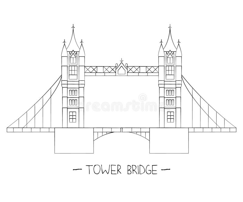 Vector illustration of London sights. London city symbol isolated on white background. Tower bridge in line art style royalty free illustration