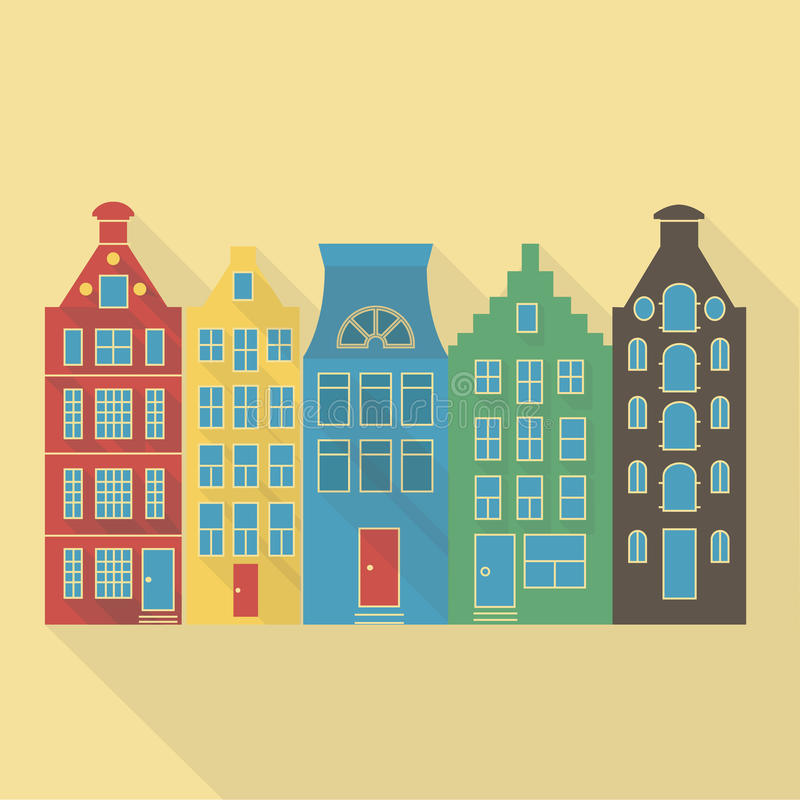 Vector illustration long shadow icon of amsterdam houses vector illustration