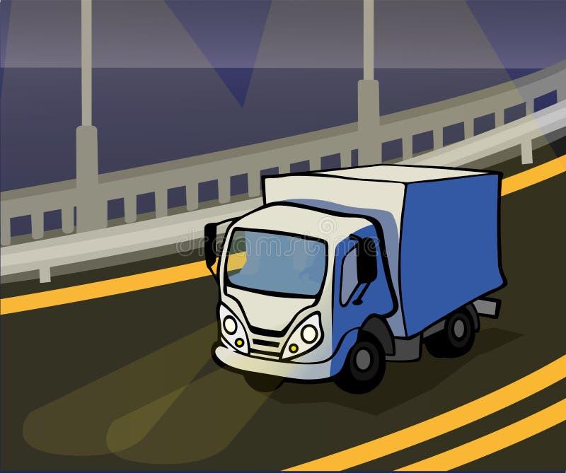 Vector illustration of a lorry. Cartoon truck. Fast shipping. Night road, bridge royalty free illustration