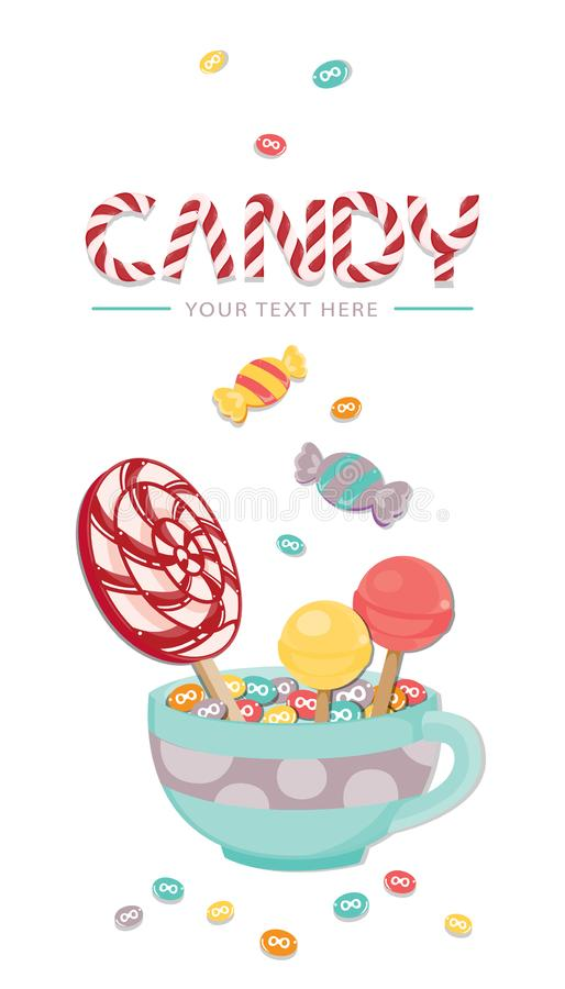 Vector illustration A lot of Candy on white background. Sweet template. Vector illustration stock illustration