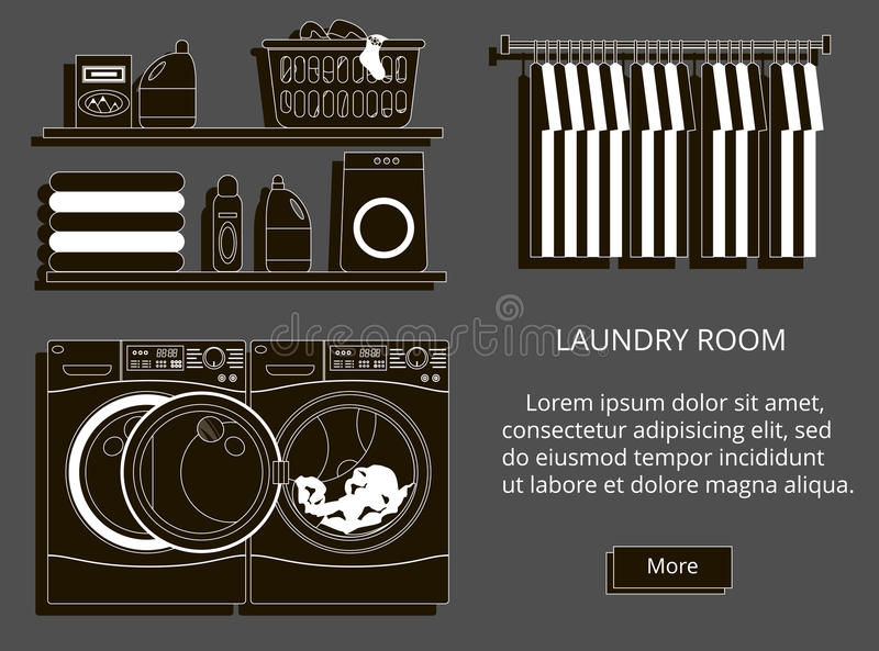 Vector illustration of loundry room stock illustration