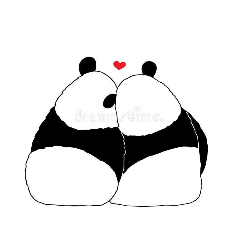 Vector illustration of lovely cartoon panda sitting together on white background. Happy romantic little cute panda. Drawing by. Hand sketch design for poster stock illustration
