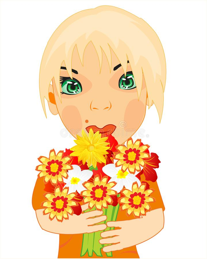 Vector illustration by lucky young girl with bouquet flower. Making look younger girl with bouquet flower on white background is insulated stock illustration