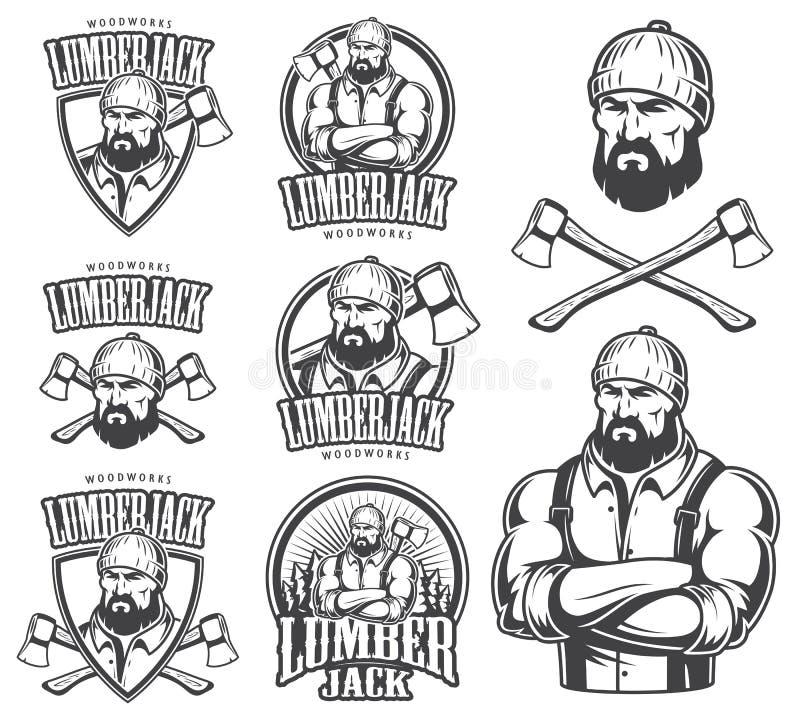 Vector illustration of lumberjack emblems. Vector illustration of lumberjack emblem, label, badge, logo and designed elements. Isolated on white background royalty free illustration