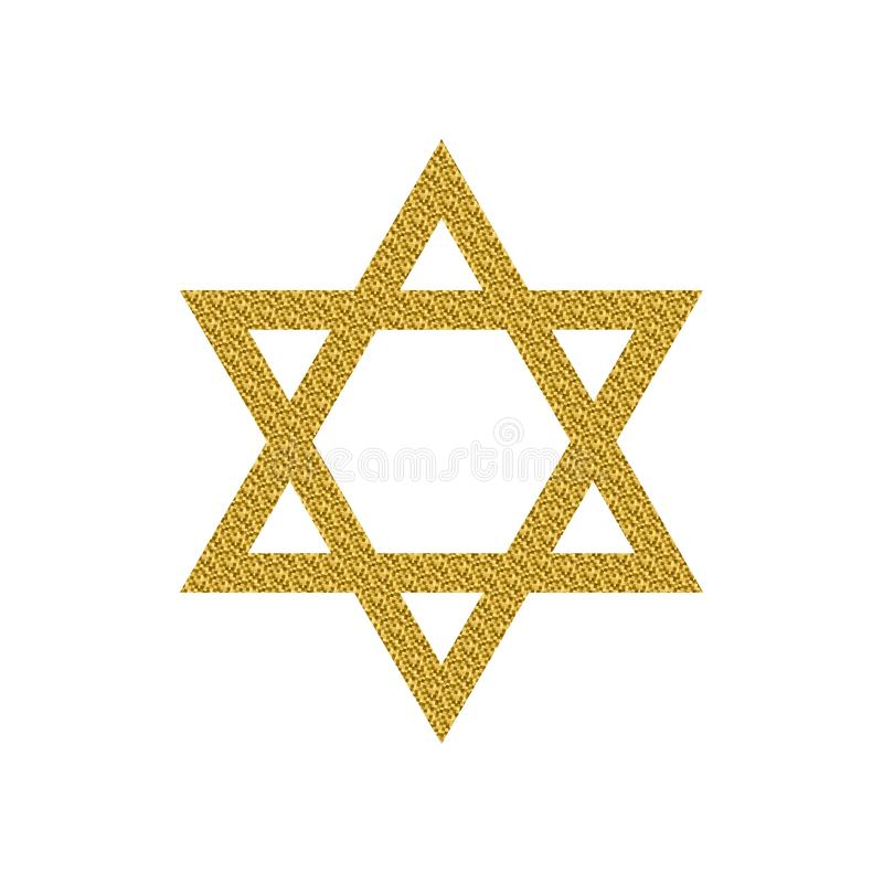 Star of David with golden glitter isolated on a white background. Vector illustration of Magen David with golden glitter. Star of David isolated on a white vector illustration