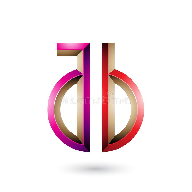 Magenta and Red Key-like Symbol of Letters A and B isolated on a White Background. Vector Illustration of Magenta and Red Key-like Symbol of Letters A and B vector illustration