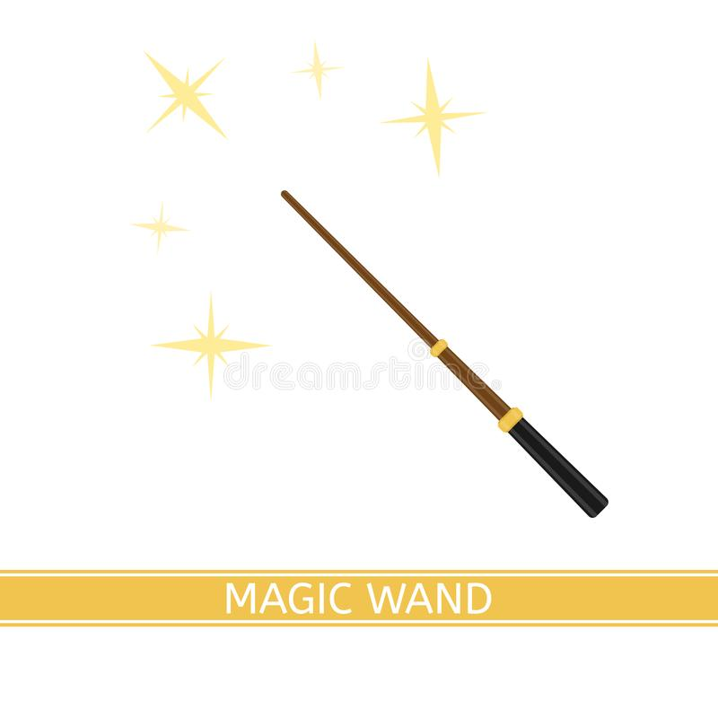 Magic Wand Isolated. Vector illustration of magic wand with sparkles isolated on white background, in flat style vector illustration