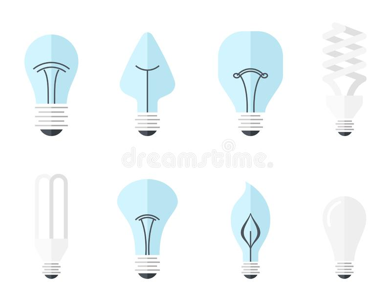 Vector illustration of main electric lighting types - incandescent light bulb, halogen lamp, cfl and led lamp. Flat stock illustration
