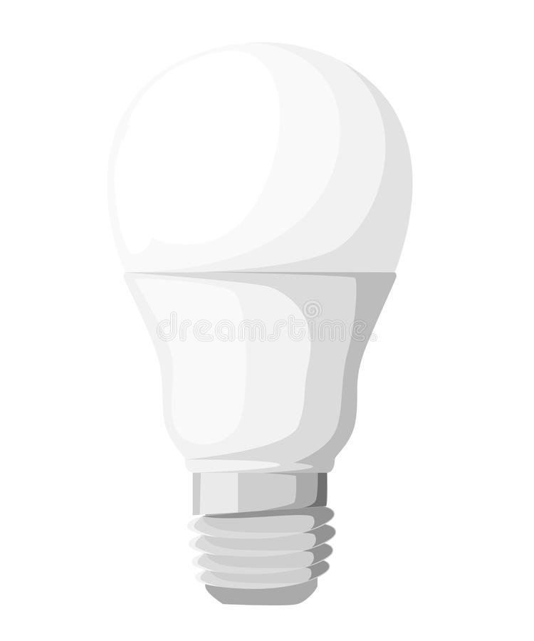 Vector illustration of main electric lighting types: incandescent light bulb, halogen lamp, cfl and led lamp. Flat style. Web site vector illustration