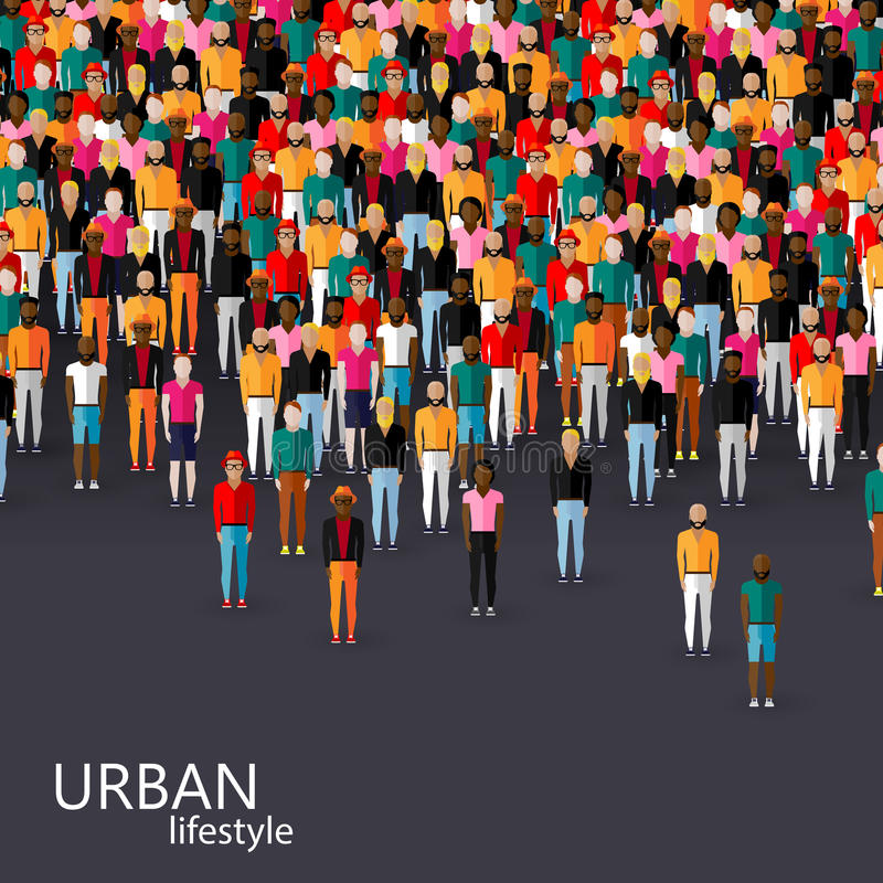 Vector illustration of male community with a crowd of guys and men. urban lifestyle concept. Vector flat illustration of male community with a crowd of guys and stock illustration