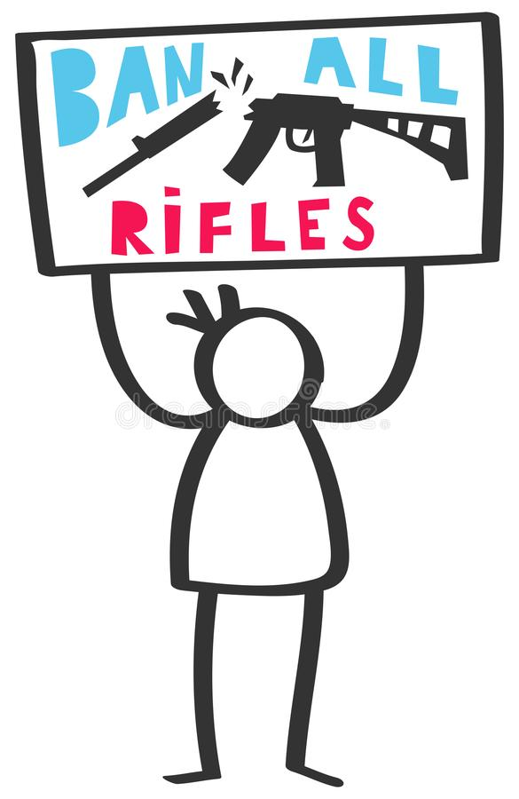 Vector illustration of male stick figure protesting gun violence holding up sign, ban all rifles. Isolated on white background vector illustration