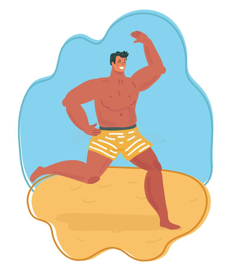 Funny man run along sea. Vector illustration of man on beach. Funny character run along sea surf. Travel lifestyle, swimming activities. Summer vacation on vector illustration