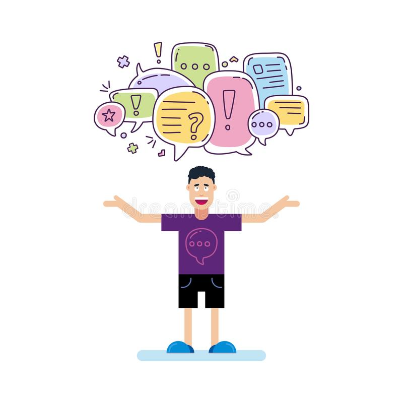 Vector illustration of man and colorful color dialog speech bubbles with icons and text let s talking on white background. Safety. Communication thin line stock illustration