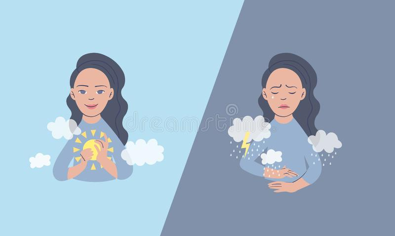 Vector illustration of a woman in depressive state of mind. Depression and frustration concept. artwork dedicated to stock illustration