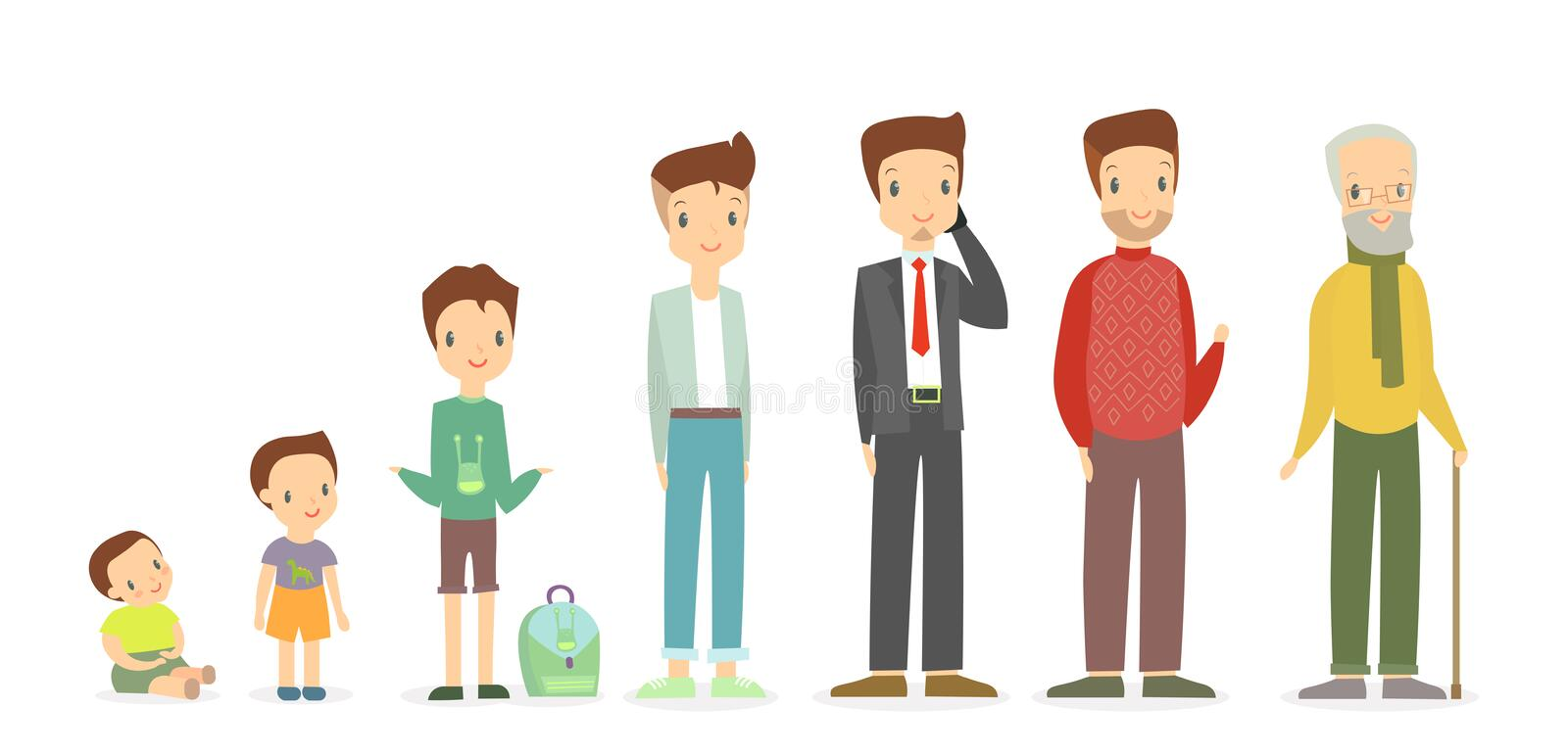 Vector illustration of a man in different ages - as a small baby boy, a child, a pupil, a teenager, an adult and an stock illustration