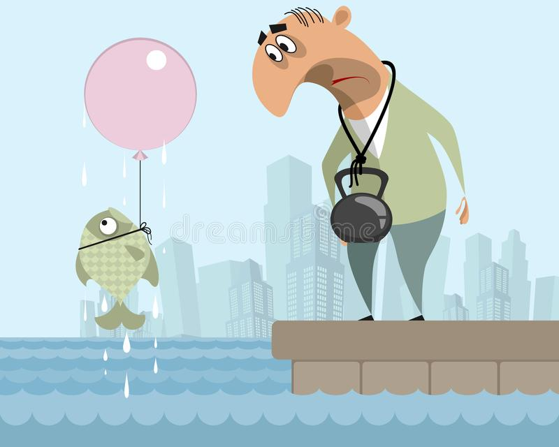 Man and fish suicide. Vector illustration of a man and a fish suicide royalty free illustration