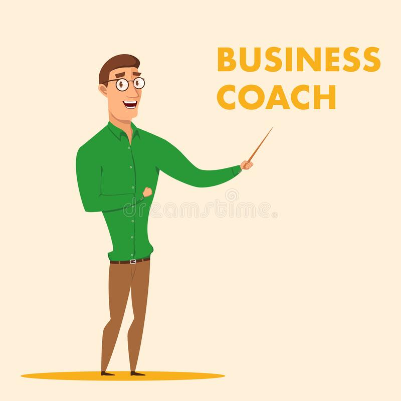 Vector Illustration Man in Glasses Business Coach stock illustration