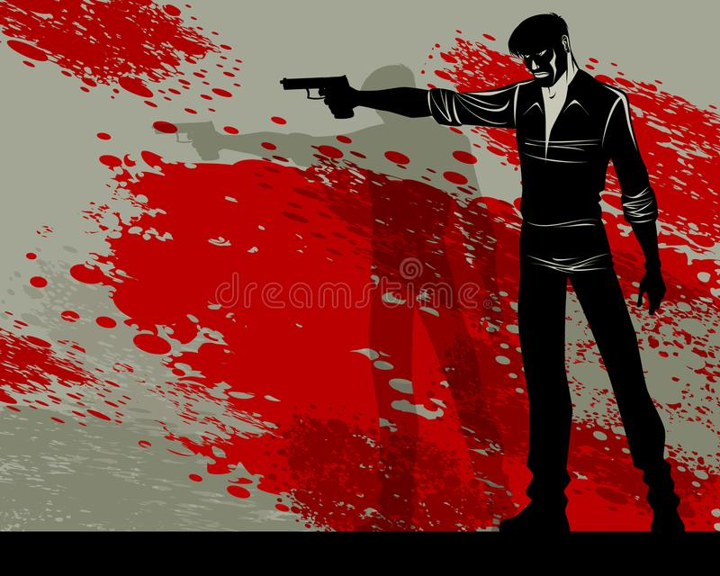 Man with a gun vector illustration