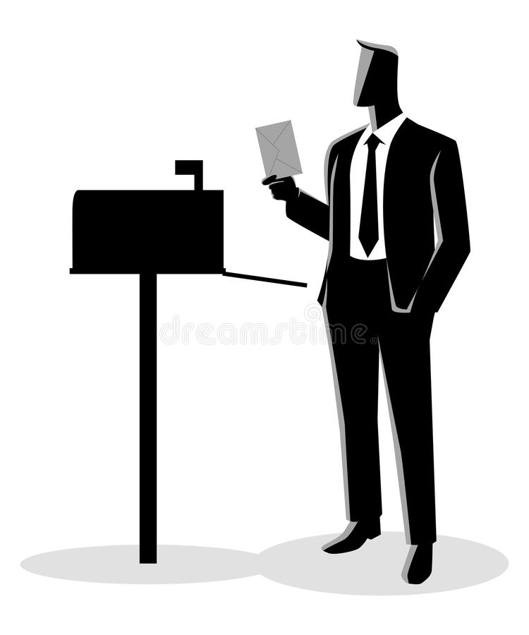 Man opened mailbox receiving a letter vector illustration