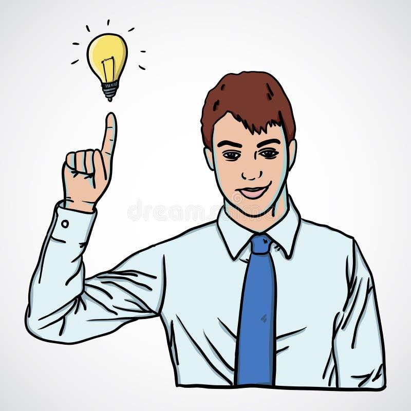 Download Vector Illustration Of Man Pointing Up With Lamp Stock Illustration - Illustration of employee, handsome: 28018497