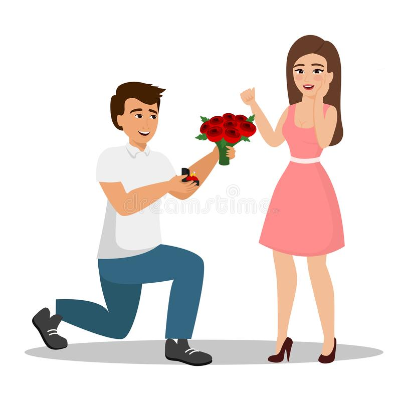 Vector illustration of man proposes a woman to marry him and gives an engagement ring and flowers. An offer of marriage. Concept with cartoon characters in flat stock illustration