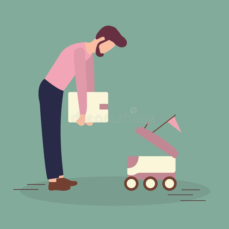 Robotic express delivery service. Man sends box. Vector illustration with man puts box in the delivery robot. Modern robotic express delivery service. Artificial royalty free illustration