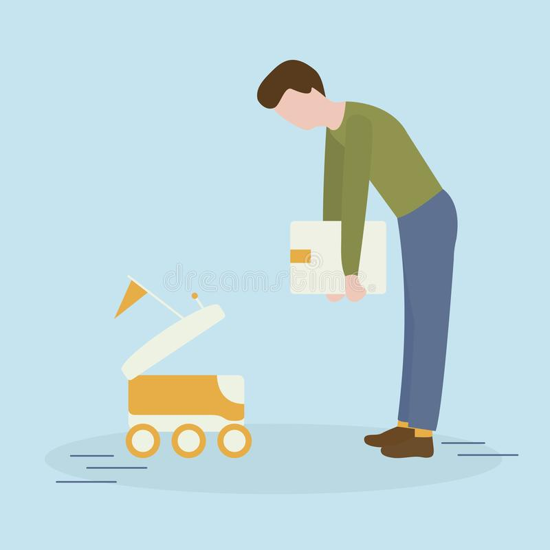 Robotic express delivery service. Man sends box. Vector illustration with man puts box in the delivery robot. Modern robotic express delivery service. Artificial stock illustration