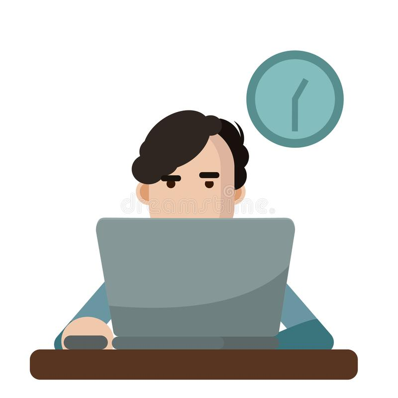 Vector illustration of a man using a laptop stock photo